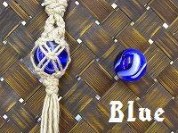 ビー玉×HEMPネックレス [ブルー]